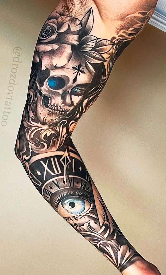 braco-fechado-d-tatuagens-masculinas-de-caveira-relogio-e-olho