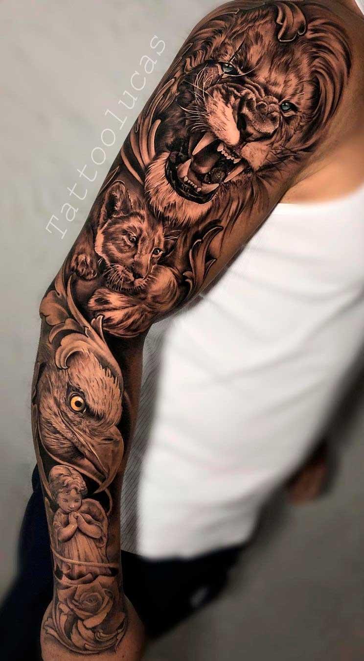 braco-fechado-de-tatuagens-de-aguia-e-leao