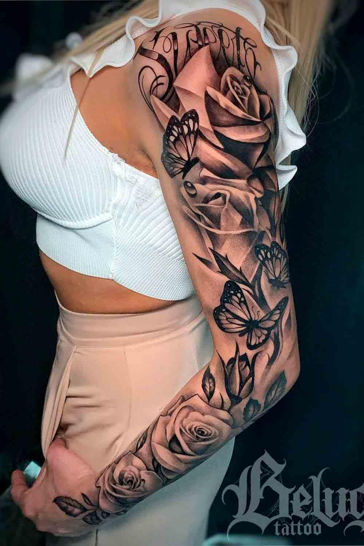 braco-feminino-fechado-de-tatuagens-de-rosa