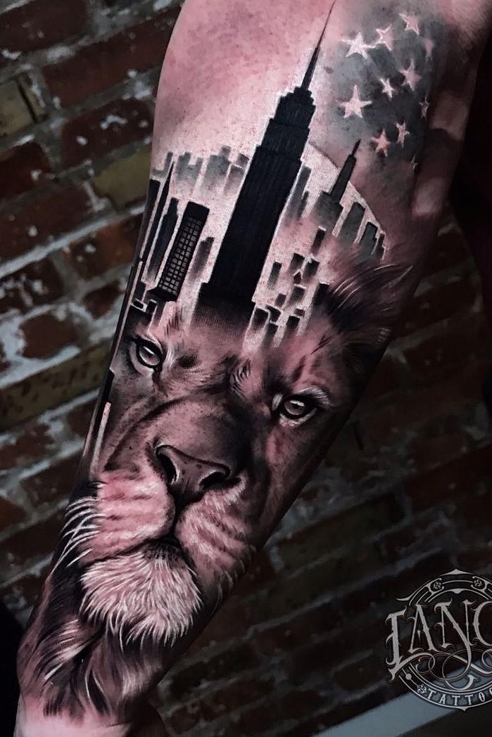 tatuagem-de-leão-no-braço