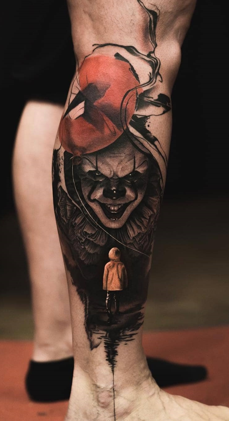 Tatuagem-de-palhaço-na-perna