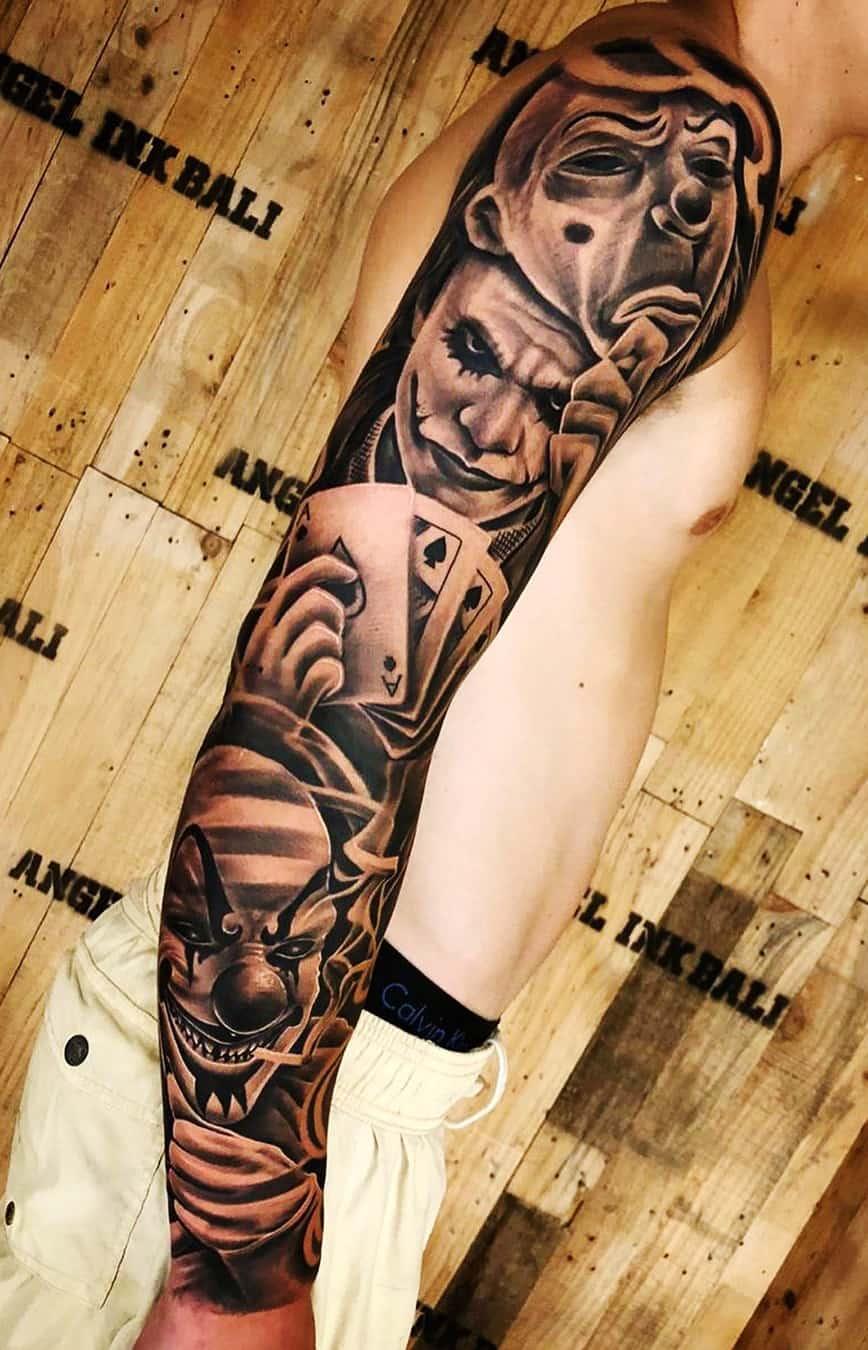 tatuagem-de-braço-fechado-de-palhaço