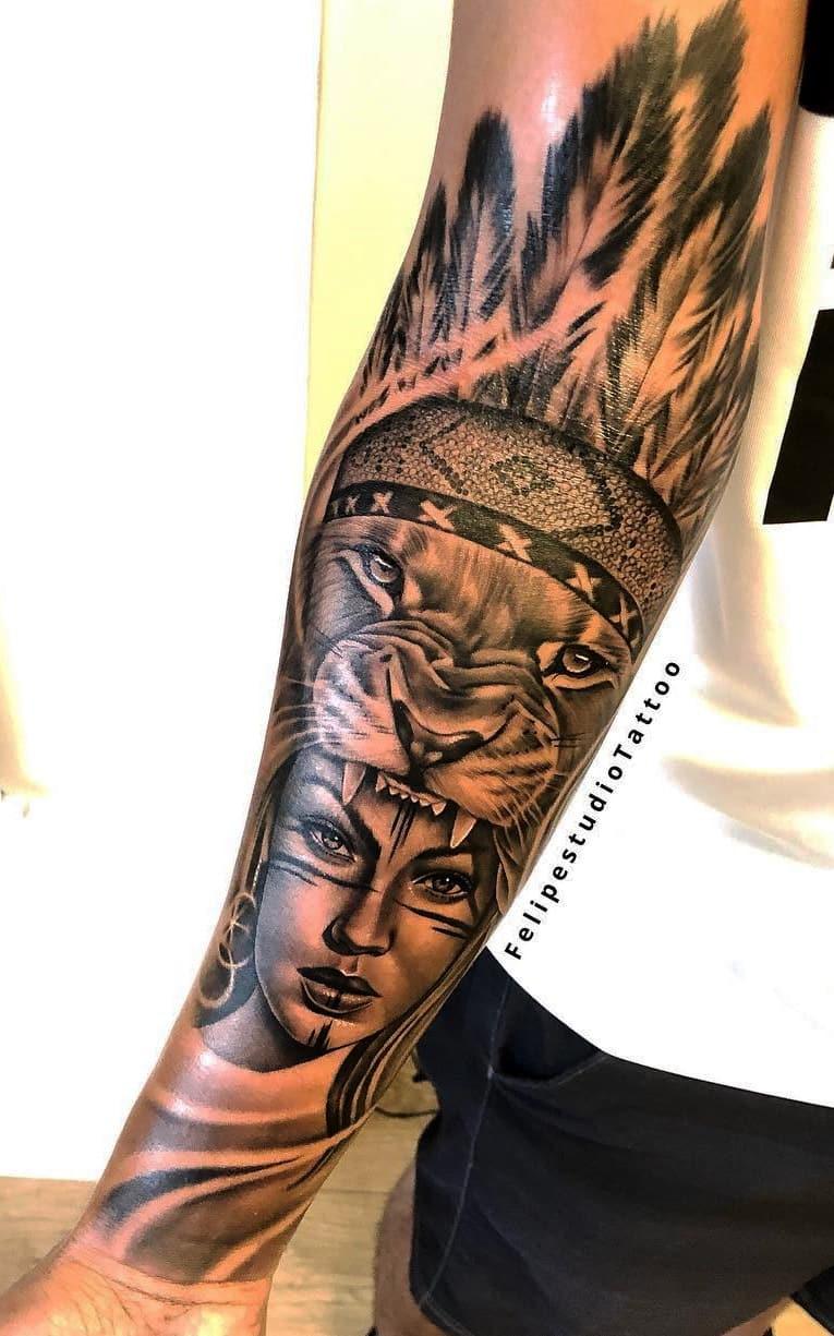 tatuagem-de-leão-no-antebraço