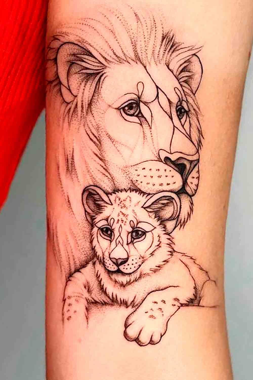 tatuagem-de-leao-com-filhote