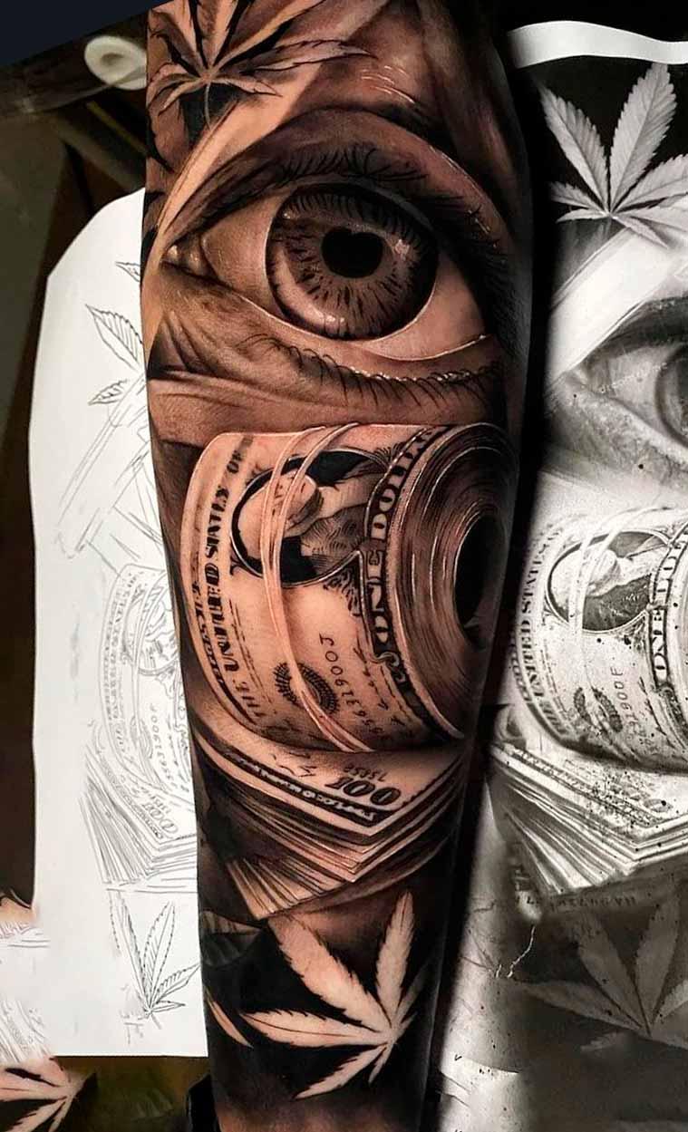 tatuagem-de-olho-e-dinheiro-no-antebraco