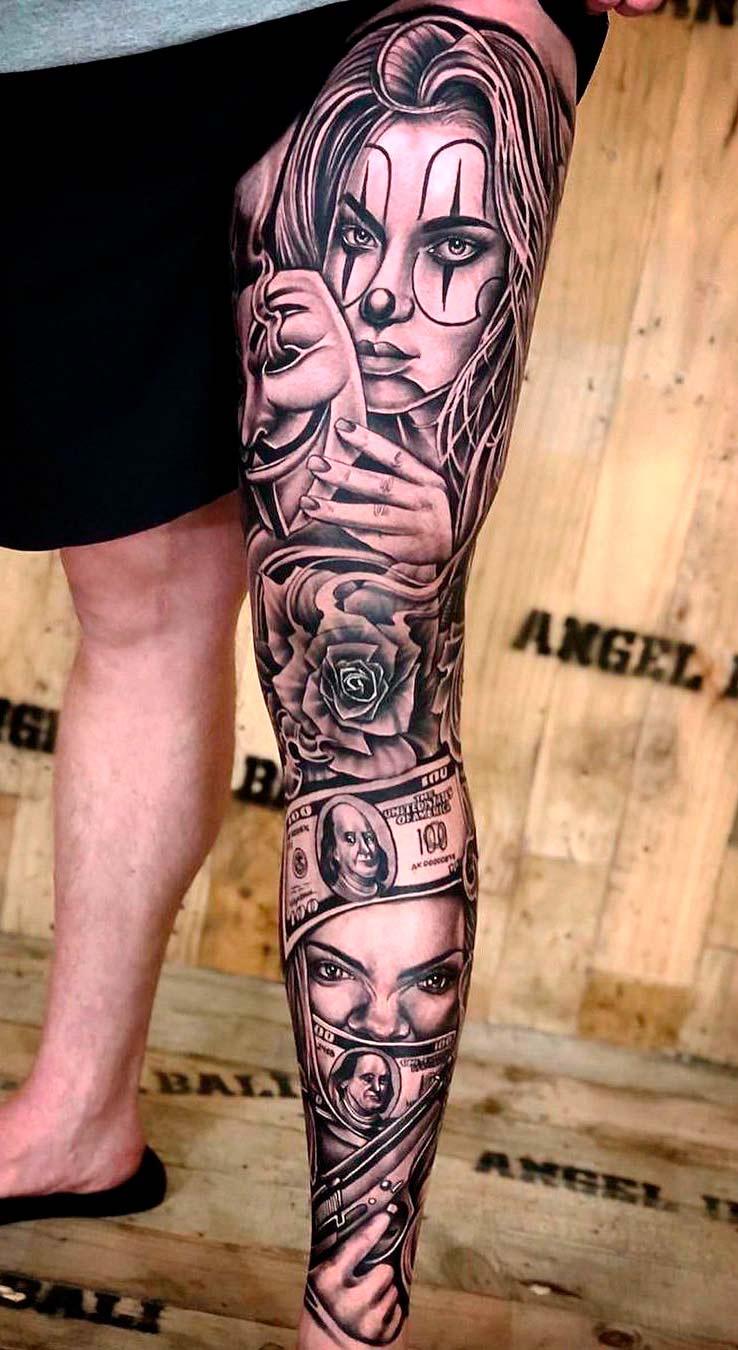 tatuagem-de-mulher-rosa-e-dinheiro-na-perna