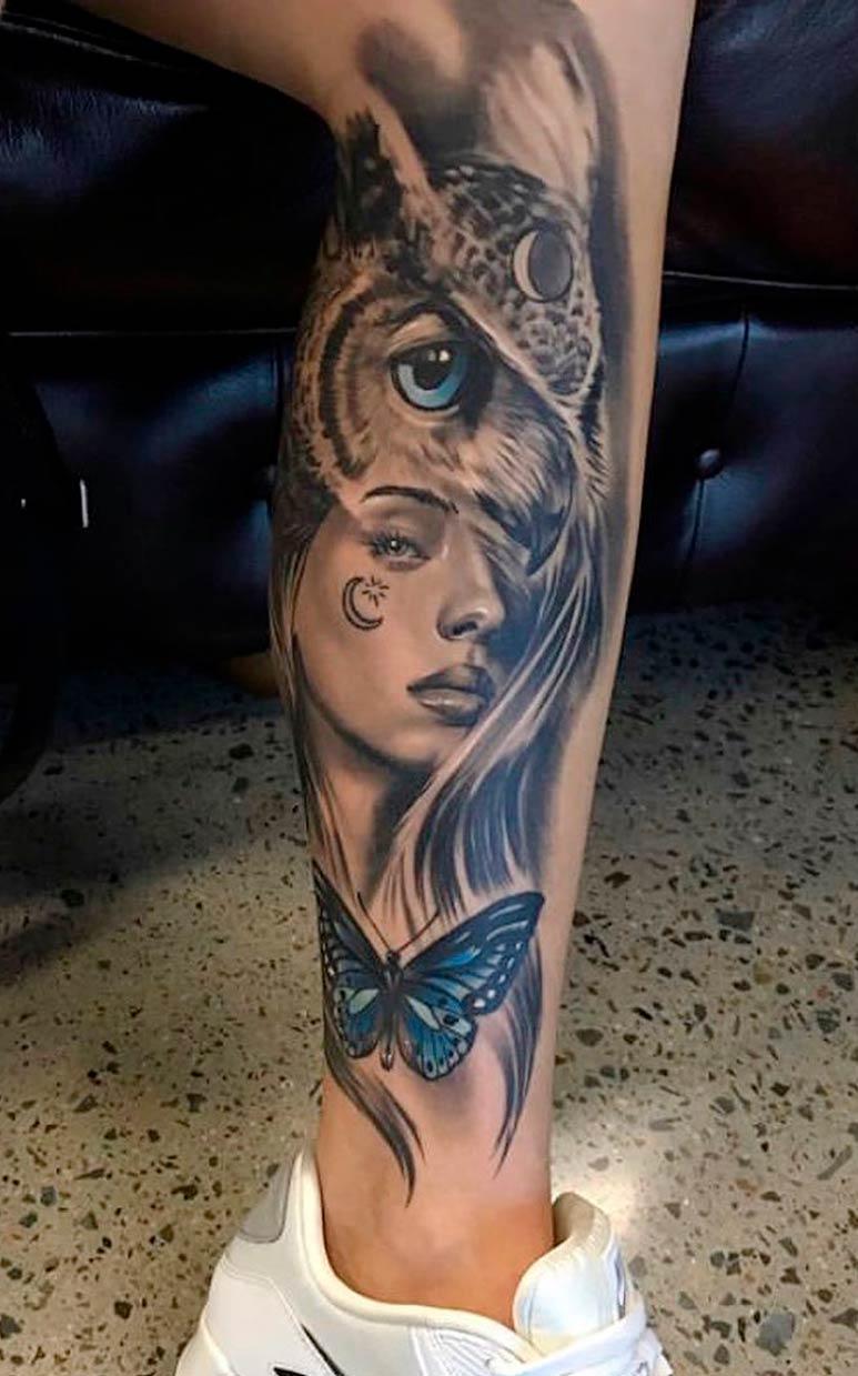 tatuagem-de-coruja-e-mulher-na-perna