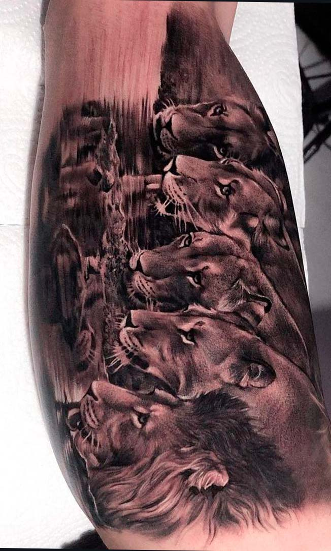 tatuagem-de-leao-bebendo-agua