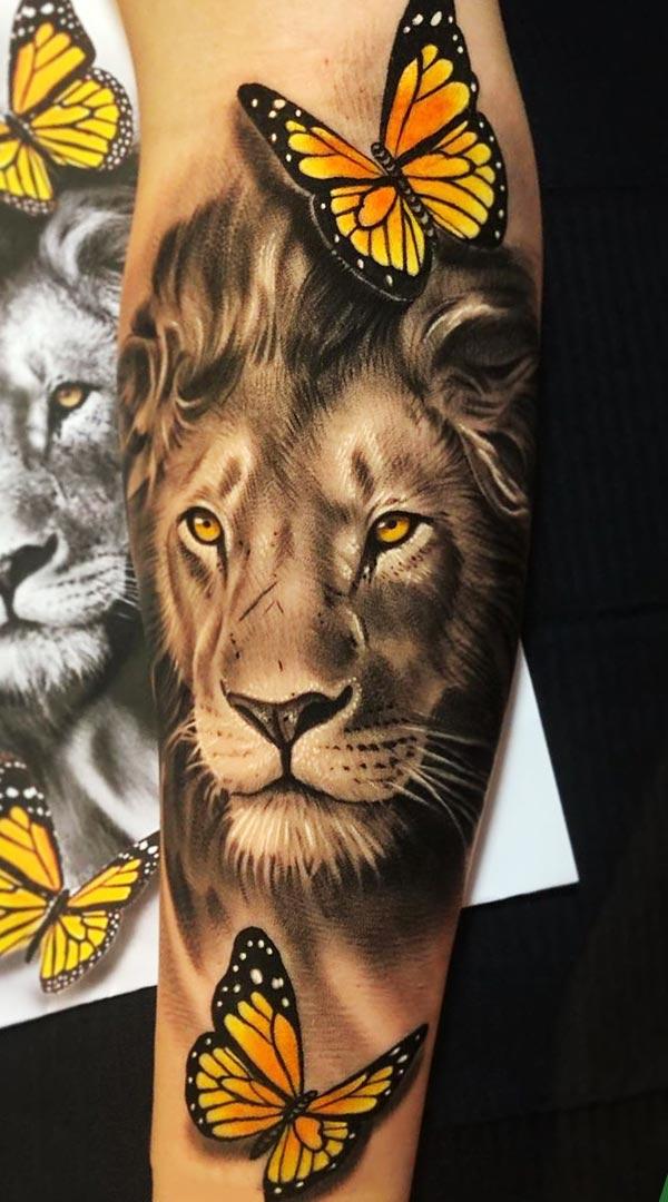 tatuagem-de-leao-com-borboletas-ao-redor