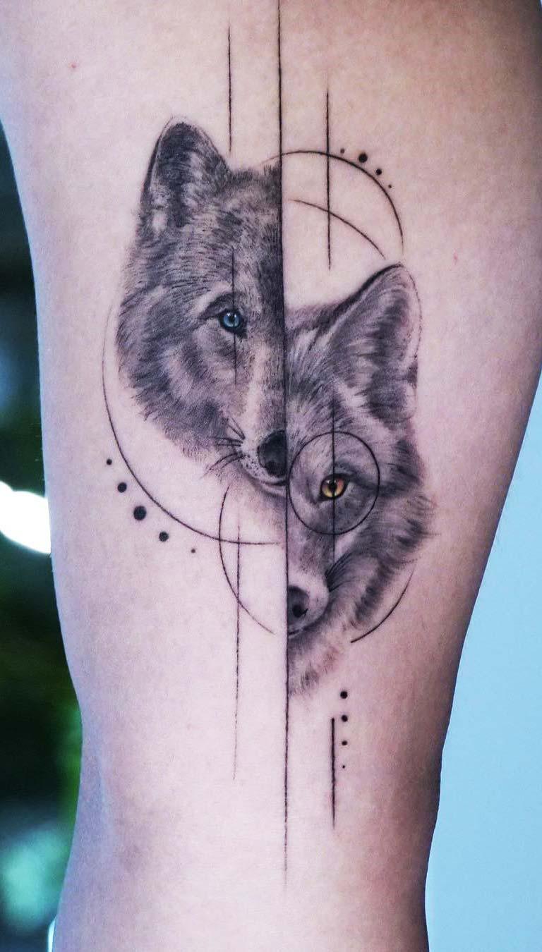 tatuagem-de-lobo-com-tracos-geometricos