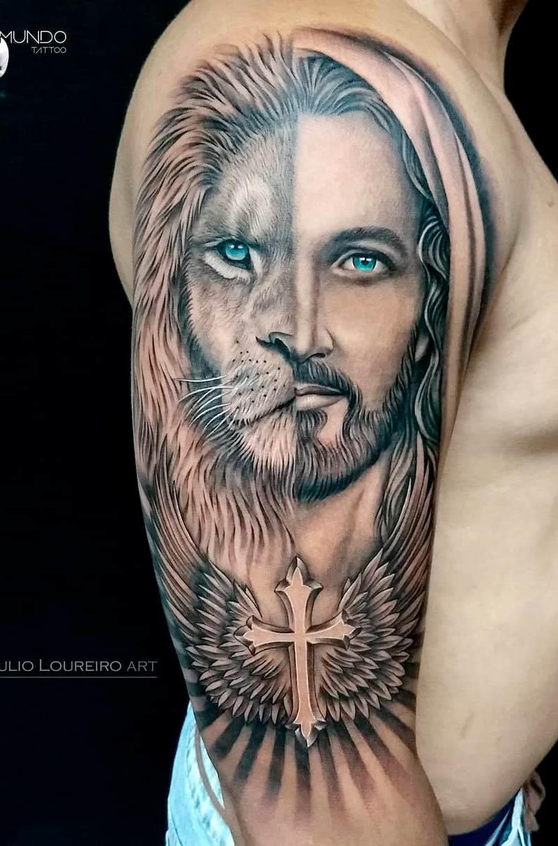 tatuagem-metade-leao-metade-jesus